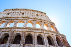 Colosseum at sunset in Rome, Italy. Ruins of Colosseum, close up details of facade, Rome Italy Stock Photography