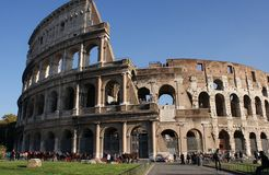 Colosseum and tourists in Italy Stock Photo