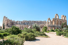 Colosseum in Tunisia fully. Against the blue sky Royalty Free Stock Image