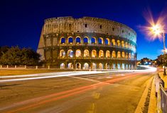 Colosseum in Twilight with Light trail Royalty Free Stock Images