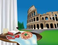 Colosseum und römische Produkte lizenzfreie abbildung