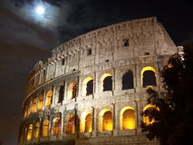 Colosseum under a full moon Royalty Free Stock Photo