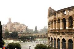 Colosseum under heavy snow stock photo