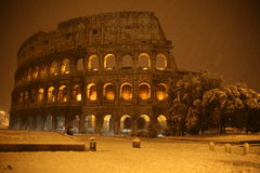 Colosseum under the snow Royalty Free Stock Images