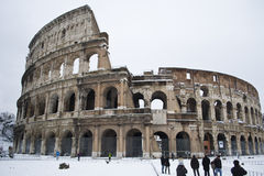 The Colosseum under snow and ice. This picture was taken february 4th 2012, after one of the heaviest snowfall in Rome since 1985. This is the historic center of Royalty Free Stock Image
