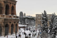 Colosseum under snow Stock Photo
