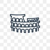 Colosseum vector icon isolated on transparent background, linear stock illustration