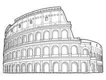 Colosseum. Vector Illustration Hand Drawn Landmark Cartoon Art stock illustration