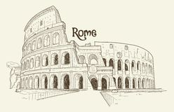 Colosseum, vector illustration, hand drawn, sketch Stock Images