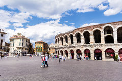 Colosseum in Verona, Italy in a cloudy day Stock Images