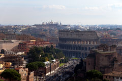 Colosseum and Via dei Fori Imperiali, Rome - Italy Stock Image