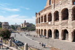 Colosseum and Via Sacra - Rome. Foreground  of Glimpse of the Colosseum and Via Sacra in background - Rome Royalty Free Stock Photo
