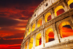 Colosseum wall against a sunse Royalty Free Stock Photography
