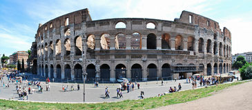 Colosseum was built in the first century in Rome city. ROME, ITALY - MAY 29: Colosseum was built in the first century AD by the Emperor Vespasian. Tourists in Stock Image