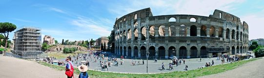 Colosseum was built in the first century in Rome city. Stock Photo