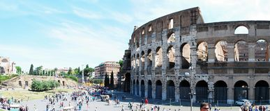 Colosseum was built in the first century in Rome city. ROME, ITALY - MAY 29: Colosseum was built in the first century AD by the Emperor Vespasian. Tourists in Stock Images