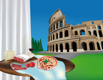 Colosseum y productos romanos Libre Illustration