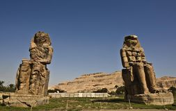 Colossi of Memnon 1. The twin statues depict Amenhotep III (fl. 14th century BC) in a seated position Royalty Free Stock Photos