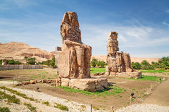 The Colossi of Memnon in Egypt. The Colossi of Memnon near Luxor, Egypt Royalty Free Stock Image