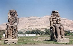 Colossi of memnon. The famous colossi of memnon at luqsor in egypt Stock Image