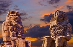 Colossi of Memnon, Luxor, Thebes Africa. Egypt desert great monuments stock images