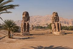 Colossi of Memnon, Luxor, Thebes Egypt royalty free stock photo