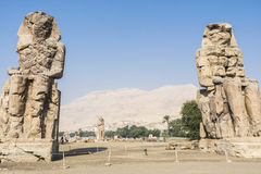 Colossi of Memnon, statues of Pharaoh Amenhotep III, Luxor, Egypt Royalty Free Stock Images