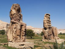 Colossi of Memnon in Thebes. Close Luxor - Egypt Stock Photos