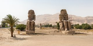 The Colossi of Memnon at the Thebes Necropolis on the west bank of the Nile, Luxor, Egypt royalty free stock image
