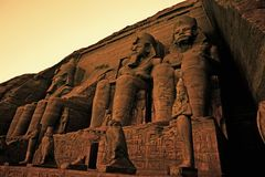 Colossi of Ramses II Great Temple of Ramses II Abu Simbel UNESCO World Heritage Site Egypt Royalty Free Stock Photography