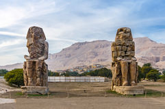 Colossi van Memnon in Luxor in Egypte Royalty-vrije Stock Foto's