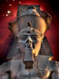 Colossus of Ramses II and Cone Nebula (Elements of this image fu Royalty Free Stock Photo