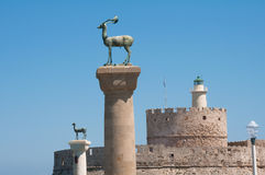 Colossus of Rhodes island. In Greece Royalty Free Stock Images