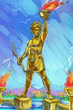 Colossus of Rhodes. Painting with one of the famous ancient wonders of the world Stock Images