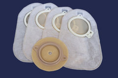 Colostomy Supplies. Accessory bag and disc for colostomy Stock Photo