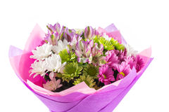 Colouful bouquet of flowers isolated on white Stock Photo