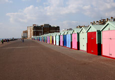 Colouful chalets in Brighton. This photo was taken of colourful chalets along the beach in Brighton stock image