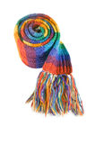 Colouful scarf. A colourful rainbow scarf curled up into a ball, isolated on white Stock Images