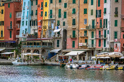 Colouful villor av Portovenere, Liguria, Cinque Terre, Italien Royaltyfri Bild