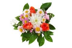 Coloufulboeket van bloemen op wit worden geïsoleerd dat Stock Afbeelding