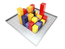 Colour 3d Bar Graph. 3d image on white backgroud Stock Images