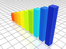 Colour 3d chart. Over white floor with wire Royalty Free Stock Photos