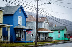 Colour Amid the Gloom. Colourful houses on a winter's day along the Ohio River, USA stock images