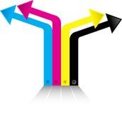 Colour arrow logo. Illustration art of a colour arrow logo with isolated background Royalty Free Stock Photo