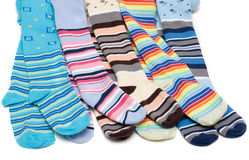 Colour baby striped pantyhose Royalty Free Stock Photography