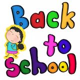 Colour back to school text  illustration cartoon drawing coloring. Colour back to school text n cartoon drawing and cartoon coloring drawing Royalty Free Stock Photos