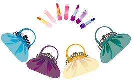 Colour bags and lipstick Stock Images
