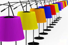 Colour balanced floor lamps. On a white background Royalty Free Stock Photography