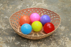 Colour ball in the basket. There are many colour balls in the basket.All made from plastic Stock Images