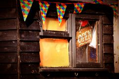 Colour banner shop open shed. Window business art shed signs banners fun happy birthday Royalty Free Stock Photo